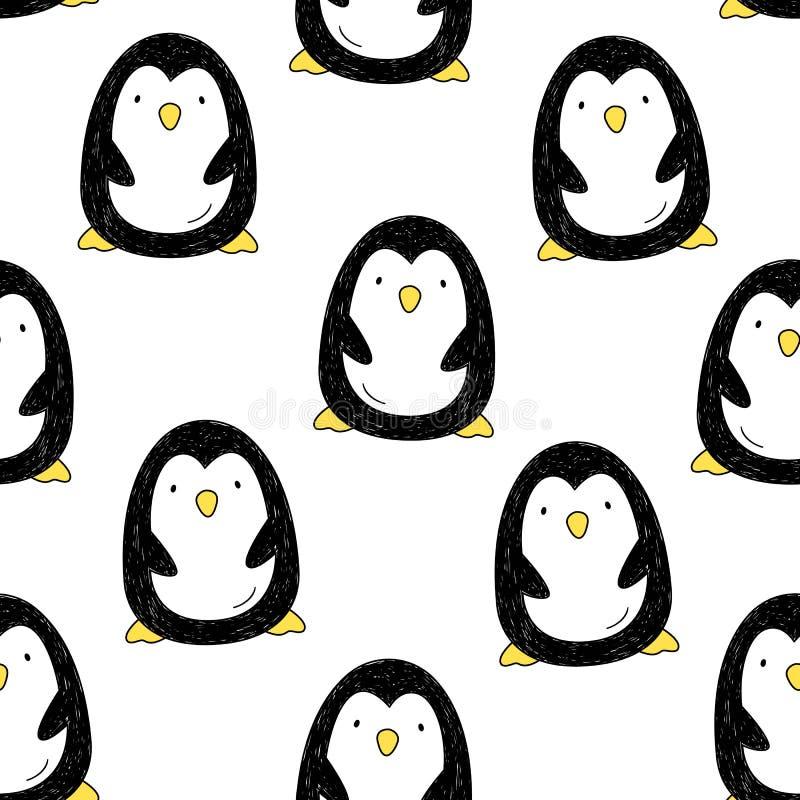 Vector naadloos patroon met pinguïnen De beeldverhaalstijl Het trekken door hand royalty-vrije illustratie