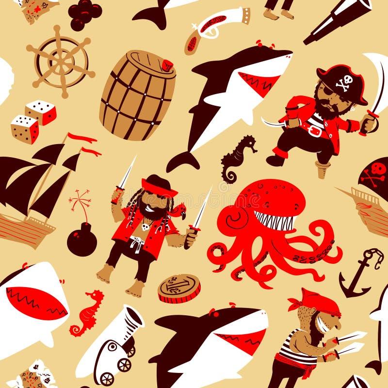 Vector naadloos patroon met piraten en haaien royalty-vrije illustratie