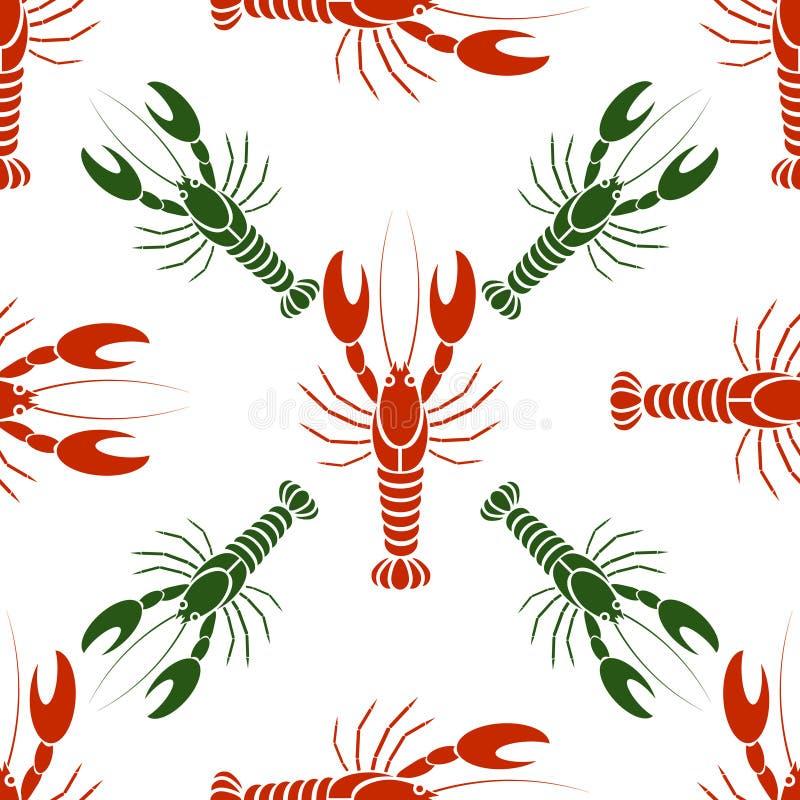 Vector naadloos patroon met rivierkreeften of zeekreeften in rode en groene kleuren royalty-vrije illustratie