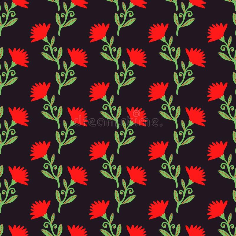 Vector naadloos patroon met rode bloemen op dark Bloemen achtergrond stock illustratie