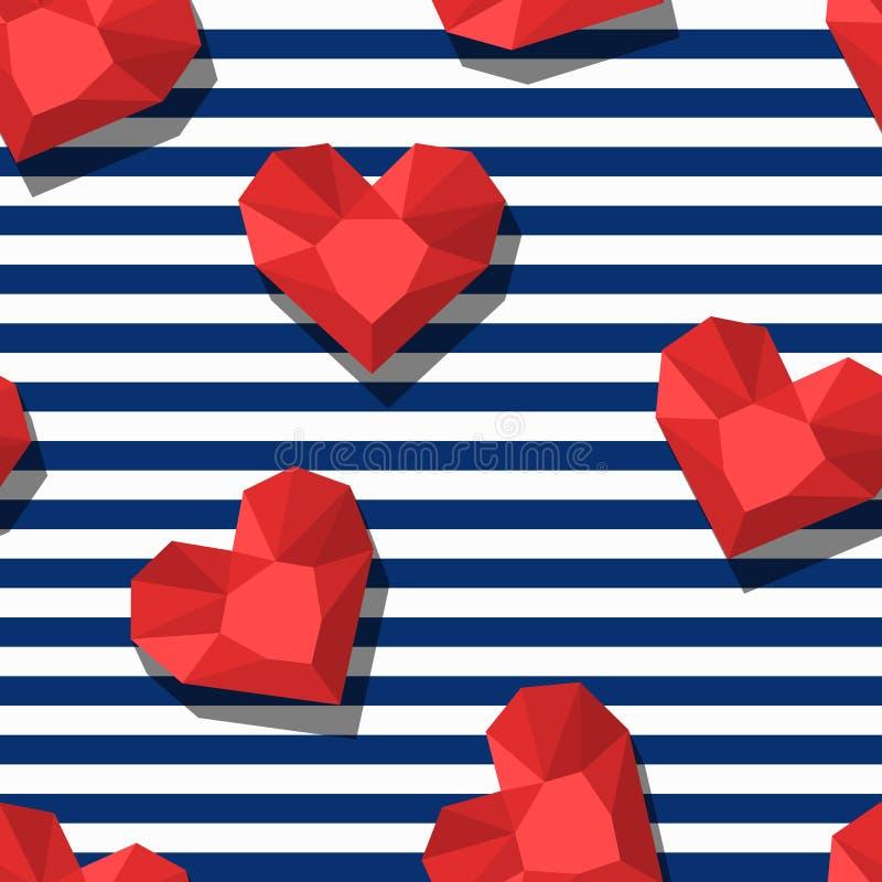 Vector naadloos patroon met rode gemstenen in hartvorm en blauwe strepen royalty-vrije illustratie