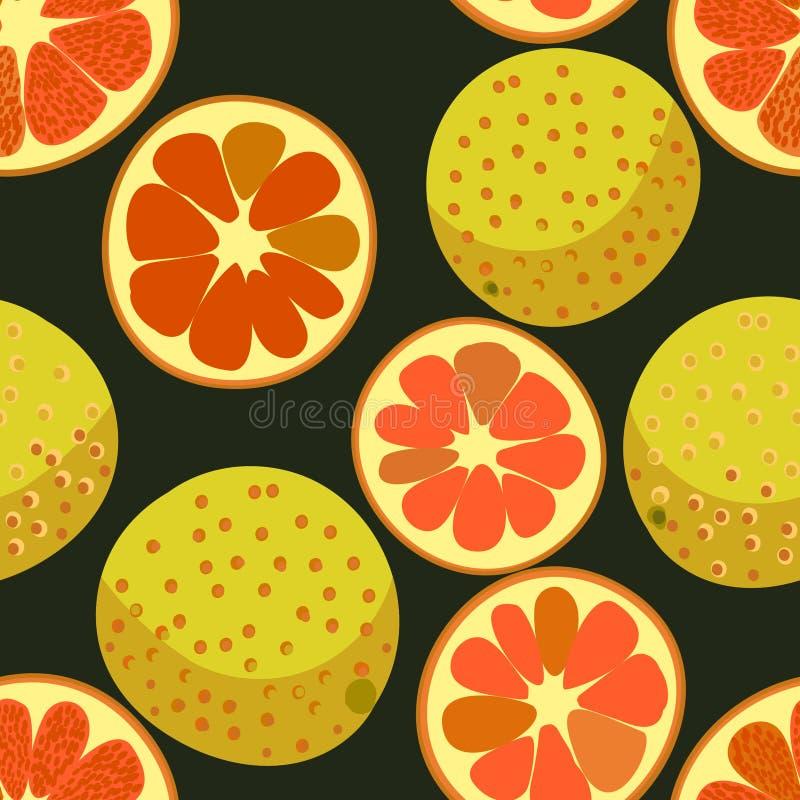 Vector naadloos patroon met rode grapefruits stock illustratie
