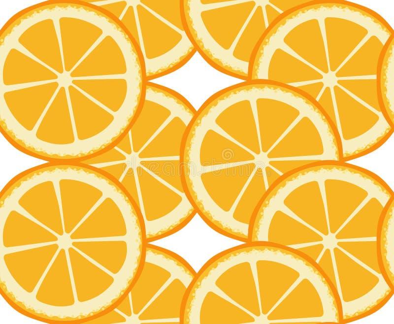Vector naadloos patroon met ronde oranje plakken Eindeloze textuur Decor voor koffie, bar, fruitwinkel Citrusvruchtendruk royalty-vrije illustratie