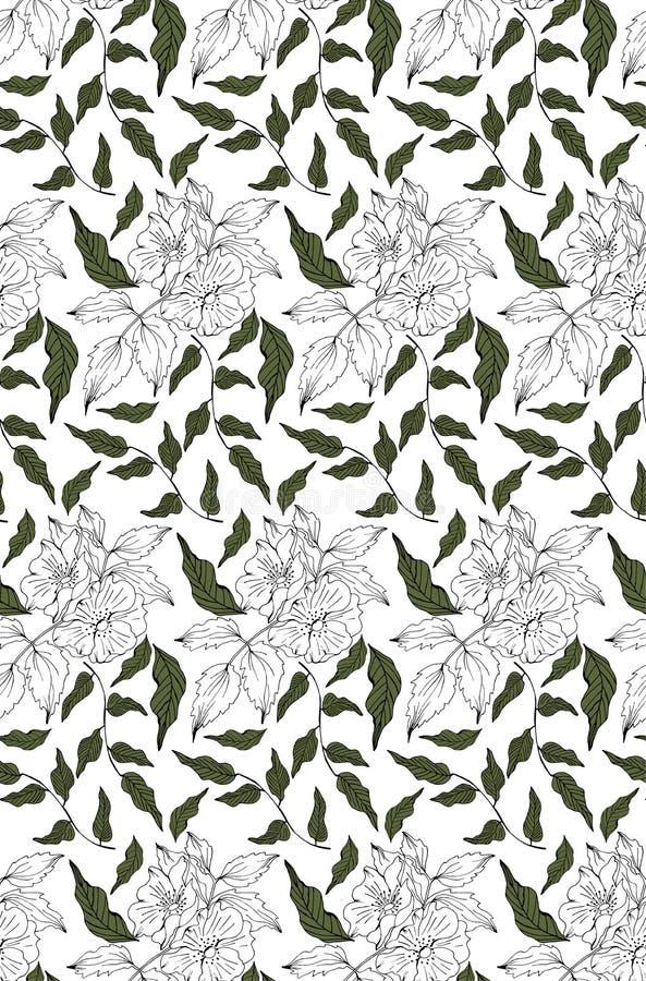 Vector naadloos patroon met rosa canina royalty-vrije illustratie