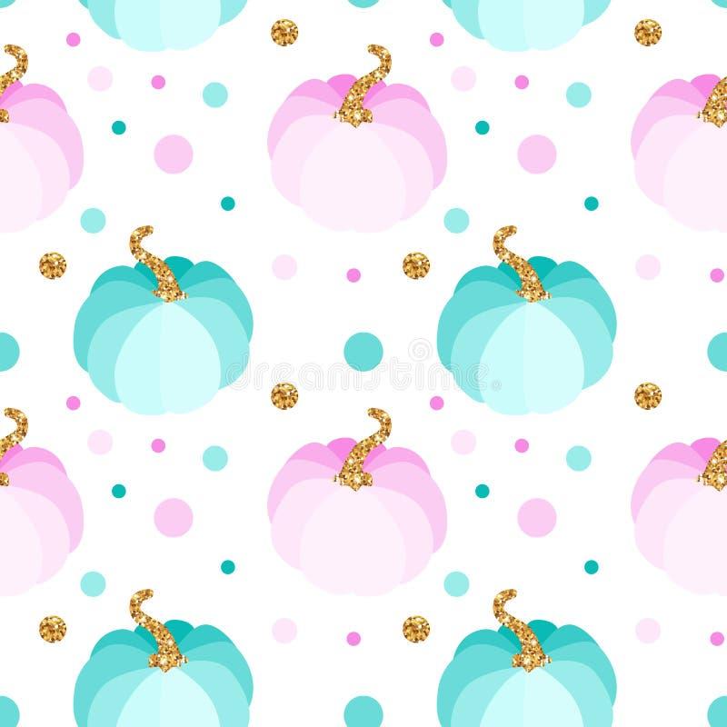Vector naadloos patroon met roze en blauwe pompoenen vector illustratie