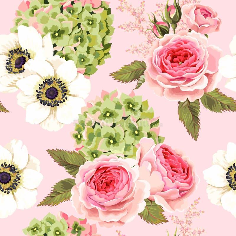 Vector naadloos patroon met rozen en hydrangea hortensia royalty-vrije illustratie