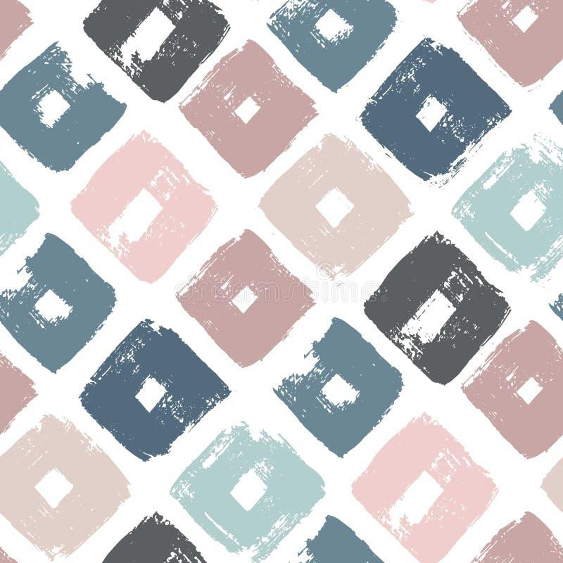 Vector naadloos patroon met ruiten Abstracte gemaakte achtergrond het gebruiken van borstelvlekken Hand getrokken textuur trendy stock illustratie