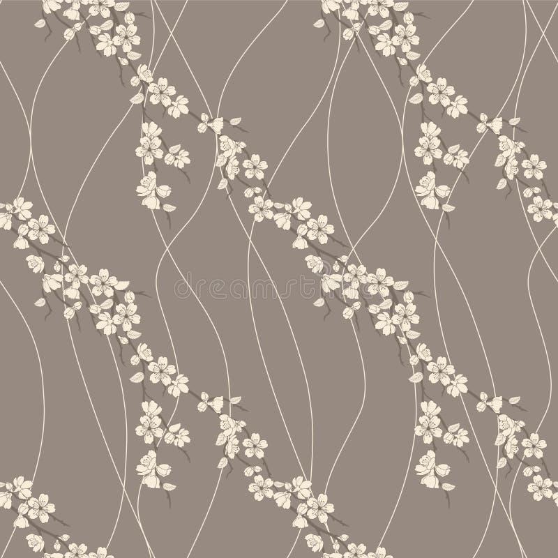 Vector naadloos patroon met sakuratak royalty-vrije illustratie