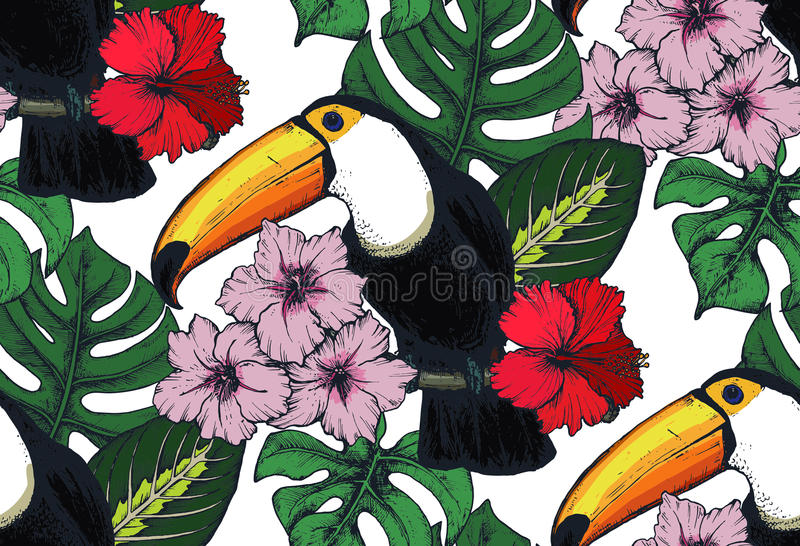Vector naadloos patroon met samenstellingen van hand getrokken tropische bloemen en exotische vogels royalty-vrije illustratie