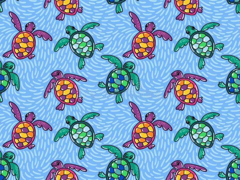 Vector naadloos patroon met sier oceaanschildpadden Blauw hand getrokken ontwerp royalty-vrije illustratie