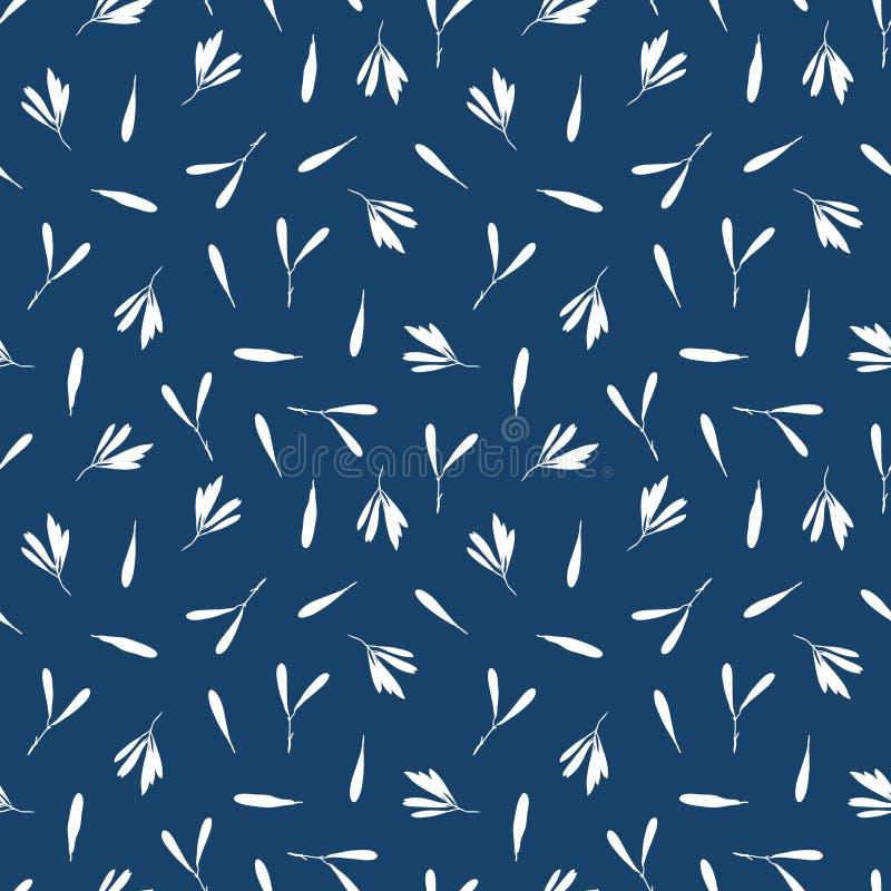 Vector naadloos patroon met silhouetten van bladeren en zaden van boom stock illustratie