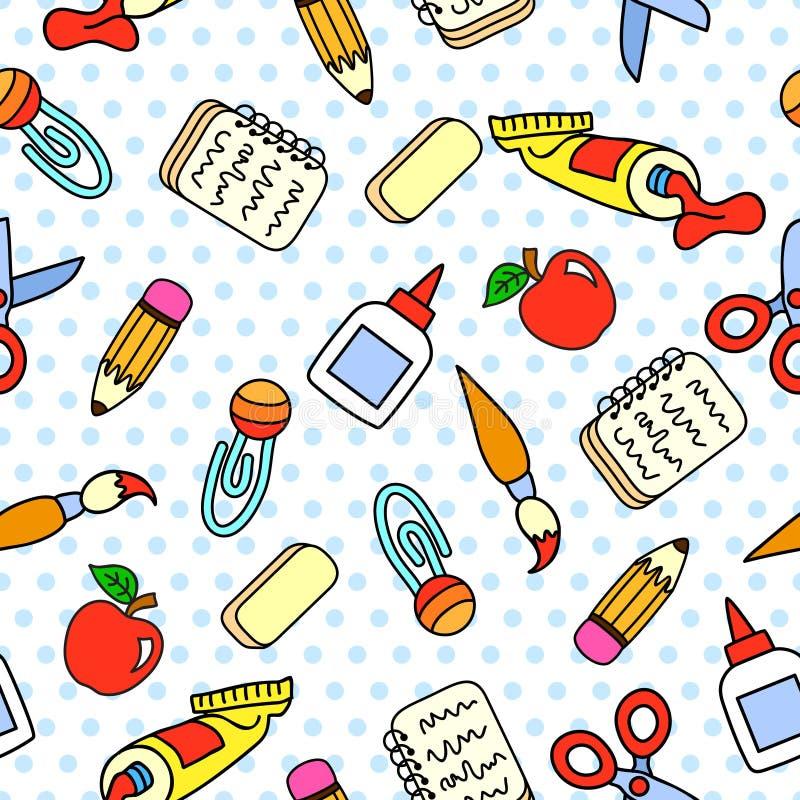 Vector naadloos patroon met stationaire school stock foto's
