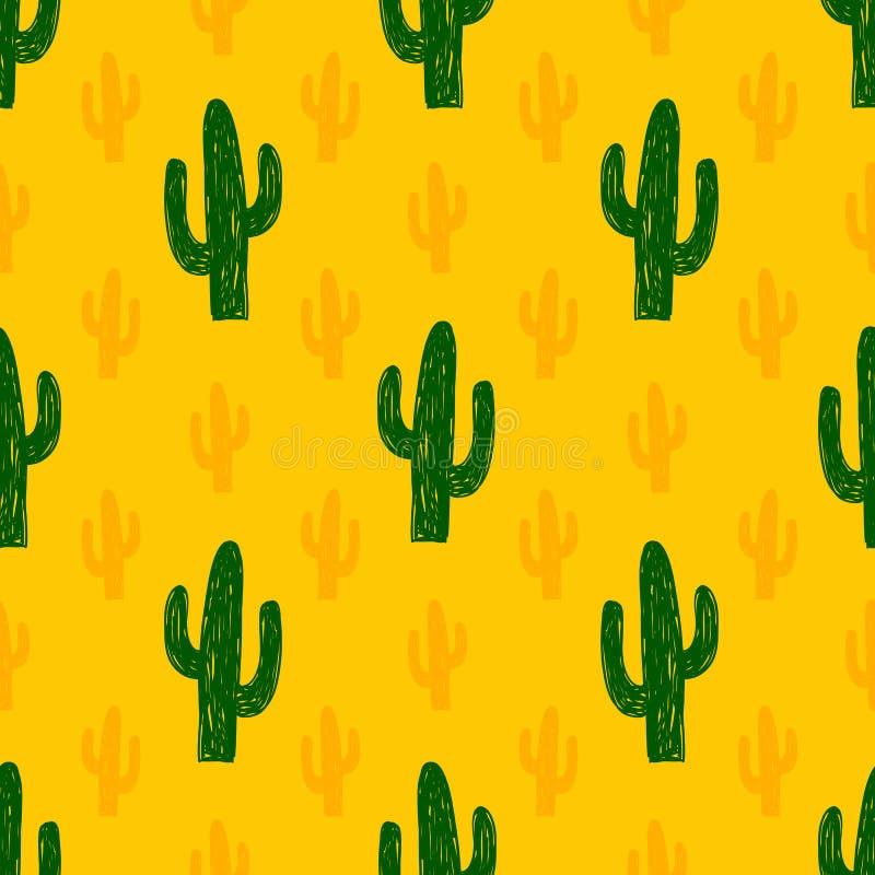 Vector naadloos patroon met succulente cactus royalty-vrije illustratie