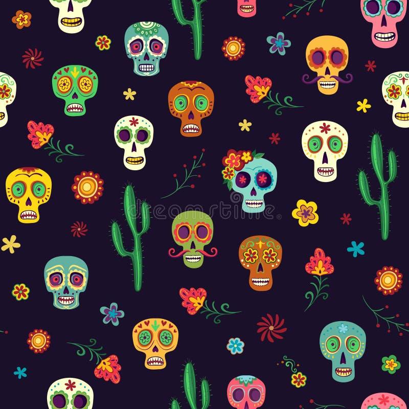 Vector naadloos patroon met suikerschedels op een donkere achtergrond royalty-vrije illustratie