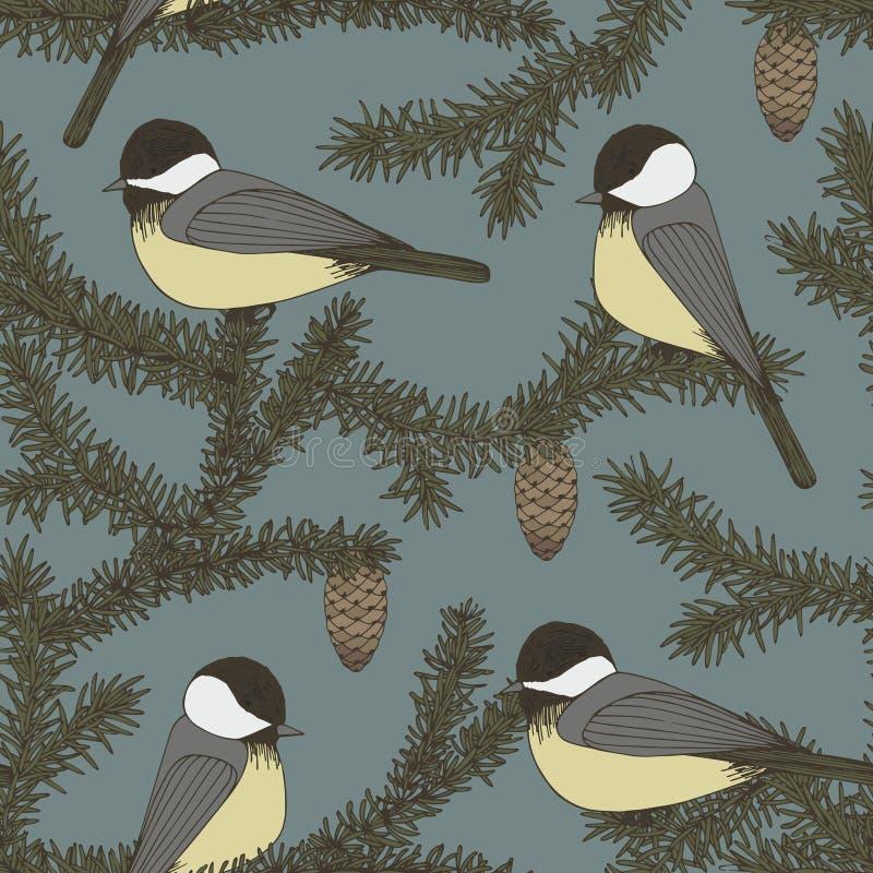 Vector naadloos patroon met takken van spar en vogels De tekening van de hand royalty-vrije illustratie