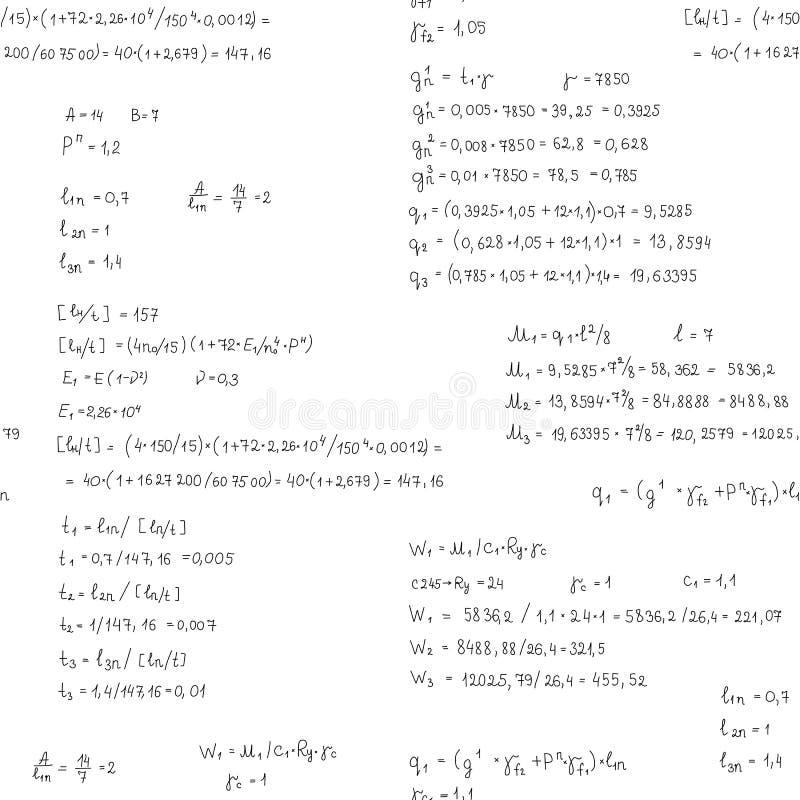 Vector naadloos patroon met techniek en wiskundevergelijking en berekeningen Het eindeloze hand schrijven royalty-vrije illustratie