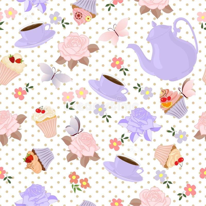 Vector naadloos patroon met thee, rozen, madeliefjes, vlinders stock foto