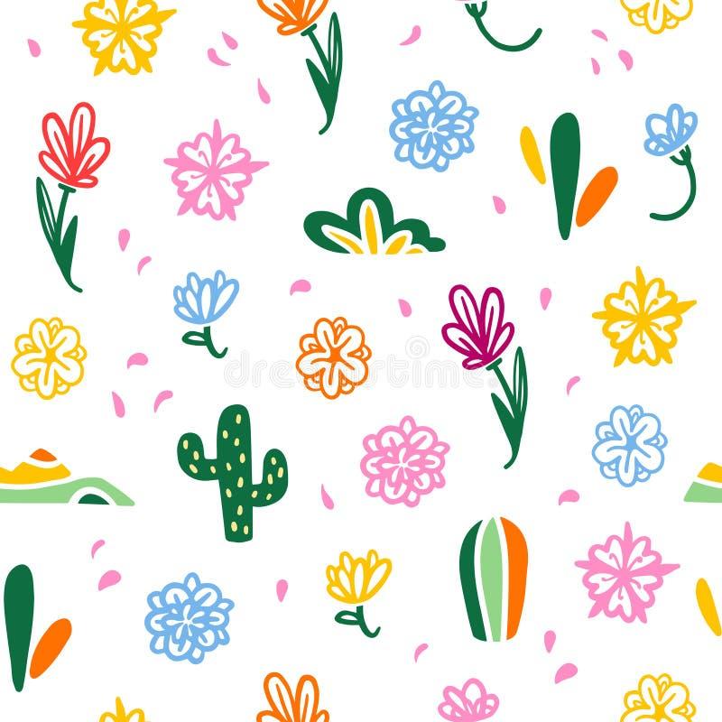 Vector naadloos patroon met traditionele het decorelementen van Mexico royalty-vrije illustratie