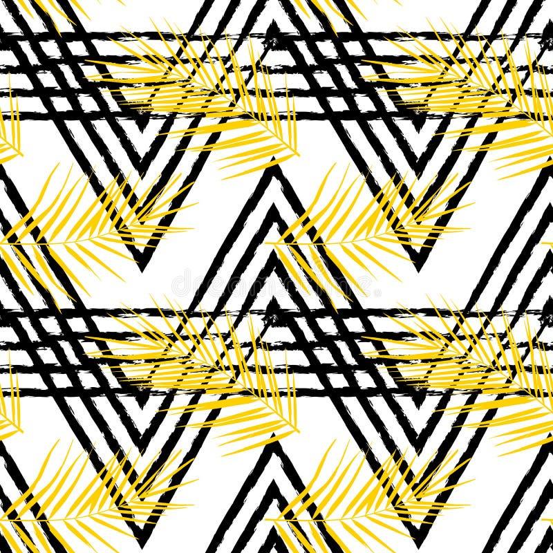 Vector naadloos patroon met tropische bladeren royalty-vrije illustratie