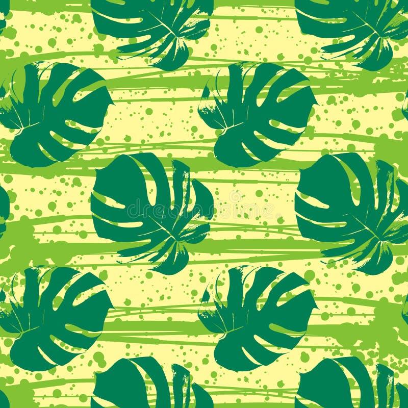 Vector naadloos patroon met tropische bladeren vector illustratie