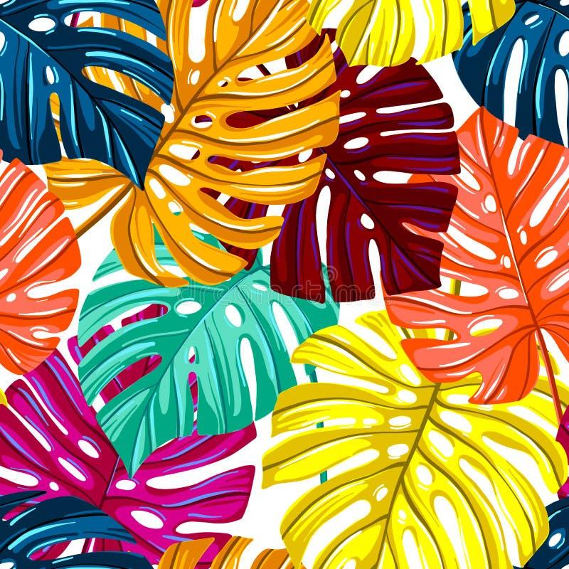 Vector naadloos patroon met tropische bladeren De textuur van Monsterabladeren Wildernis bloemen herhaalbare achtergrond stock illustratie