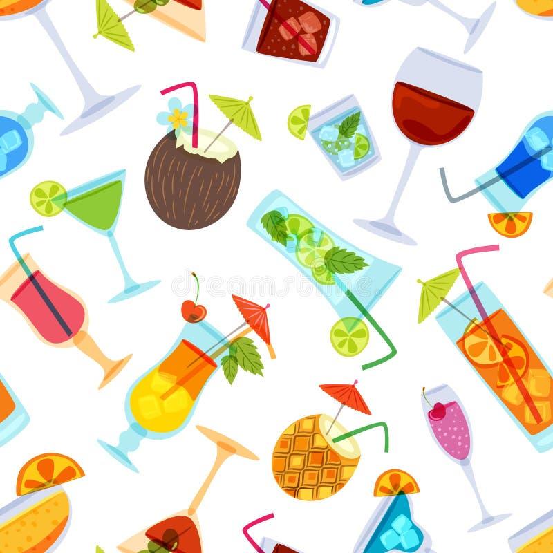 Vector naadloos patroon met tropische cocktails, sap, wijn en champagneglas stock illustratie