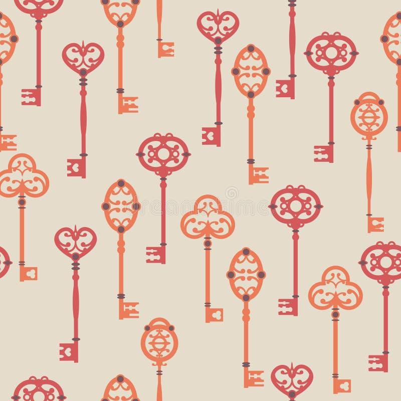 Vector naadloos patroon met uitstekende sleutels royalty-vrije illustratie