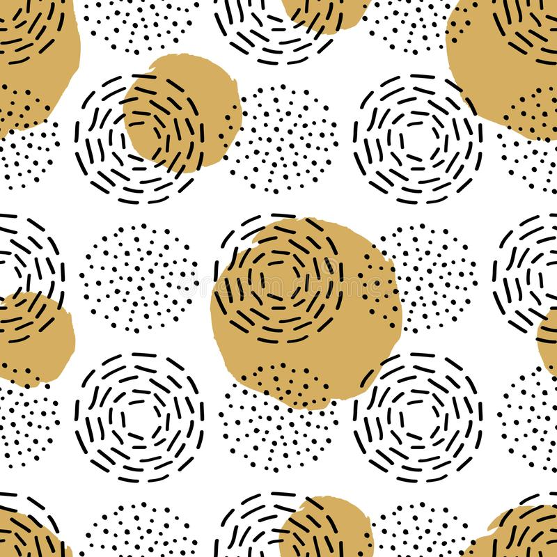 Vector naadloos patroon met verschillende ronde inktelementen vector illustratie