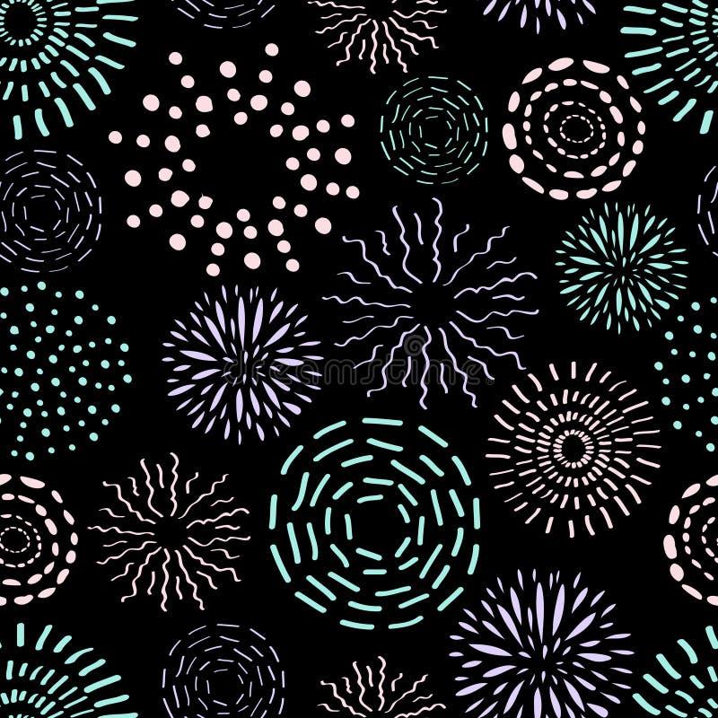 Vector naadloos patroon met verschillende ronde inktelementen royalty-vrije illustratie