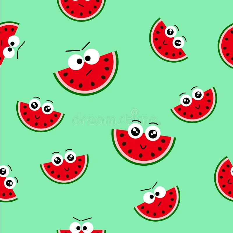 Vector naadloos patroon met verse de zomerwatermeloen -watermeloen-emoticon, Eindeloze textuur voor Web, dekking, banners, decora stock afbeelding