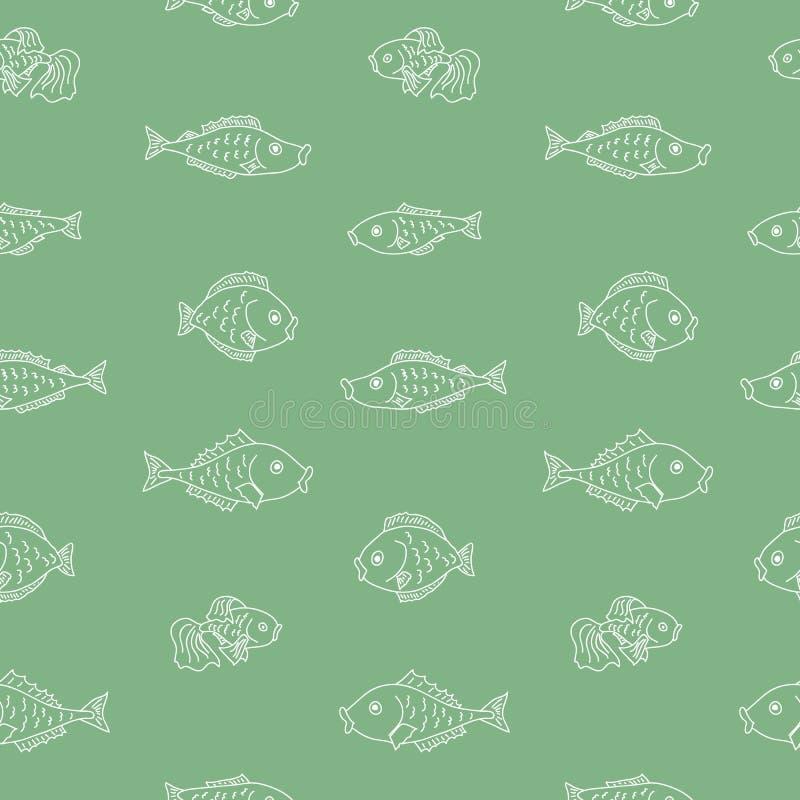 Vector naadloos patroon met vissen royalty-vrije illustratie