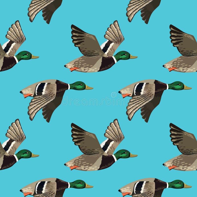 Vector naadloos patroon met vliegende eenden stock illustratie