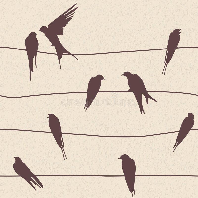 Vector naadloos patroon met vogels op draden stock illustratie