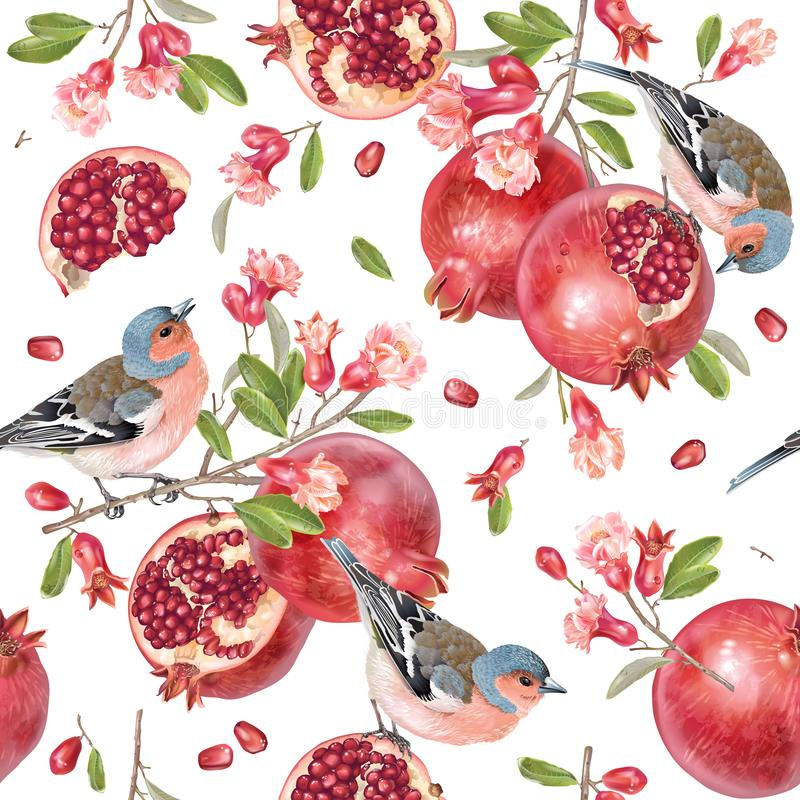 Vector naadloos patroon met vogels op granaatappel stock illustratie