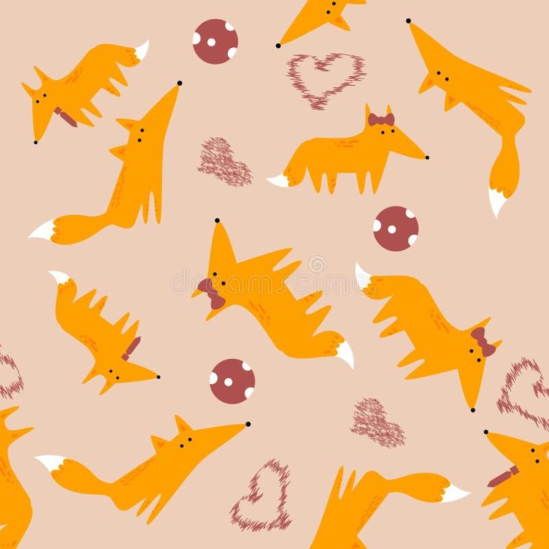 Vector naadloos patroon met vossen stock afbeelding
