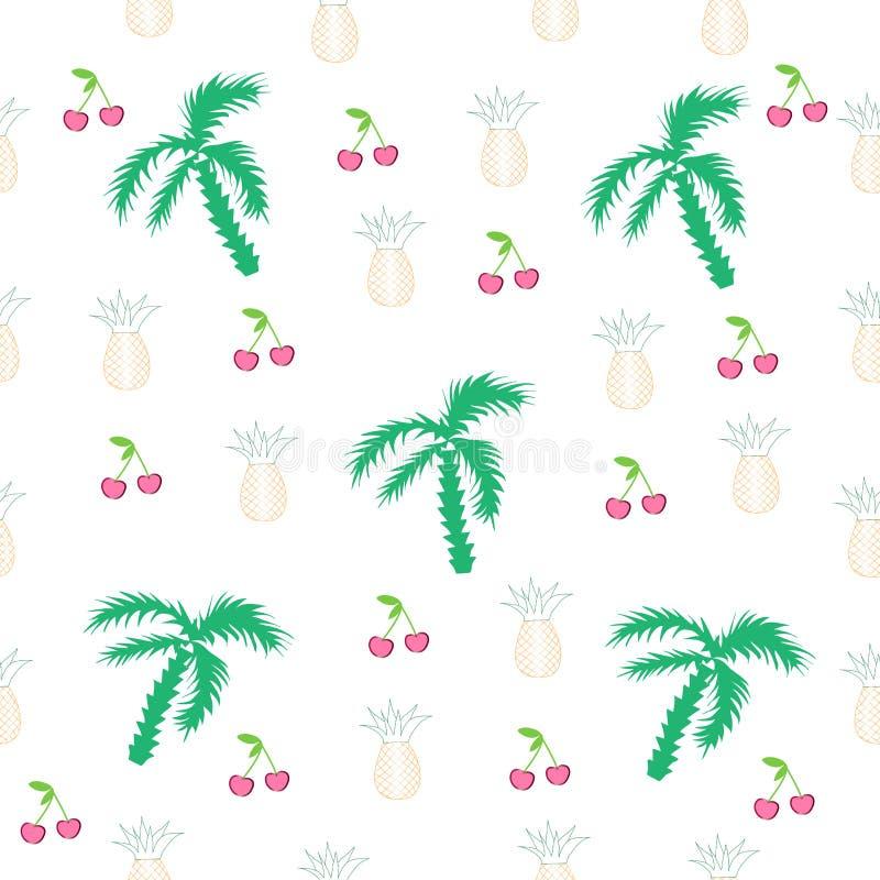Vector naadloos patroon met vruchten en palmen vector illustratie