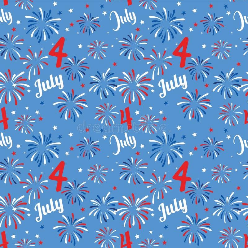 Vector naadloos patroon met vuurwerk Nationale kleuren van de Verenigde Staten Amerikaanse vlag, sterren en strepen Gebruik voor stock illustratie