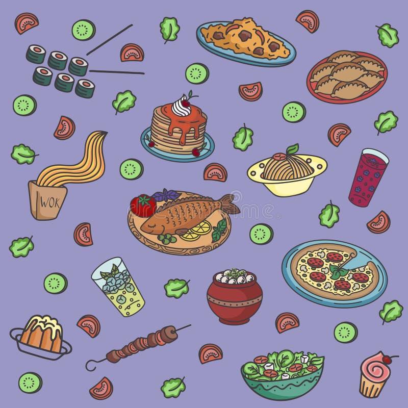 Vector naadloos patroon met wereldberoemde keukens royalty-vrije illustratie