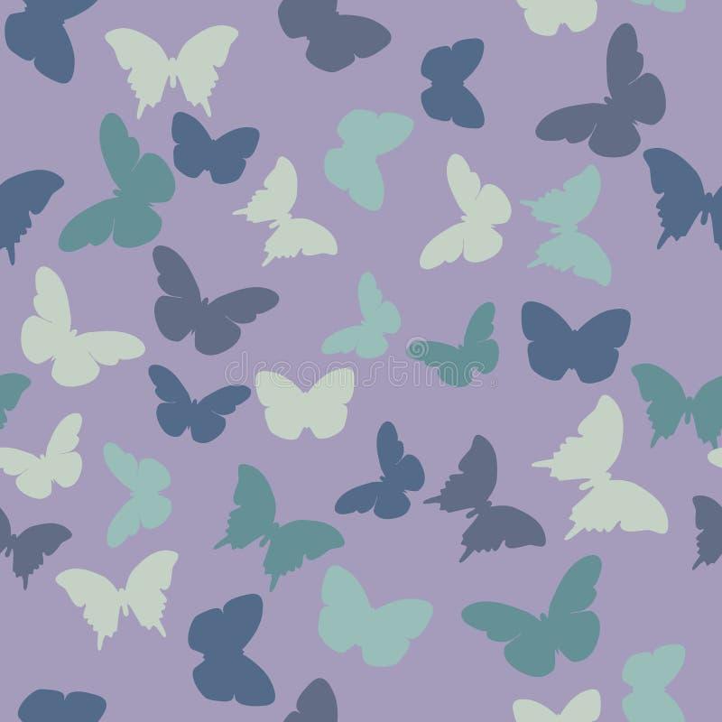 Vector naadloos patroon met willekeurige violette, roze, romige, grijze, blauwe, groene vlinders vector illustratie