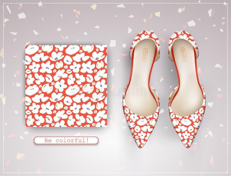Vector naadloos patroon met witte bloemen op een koraalachtergrond en een paar schoenen van vrouwen stock illustratie