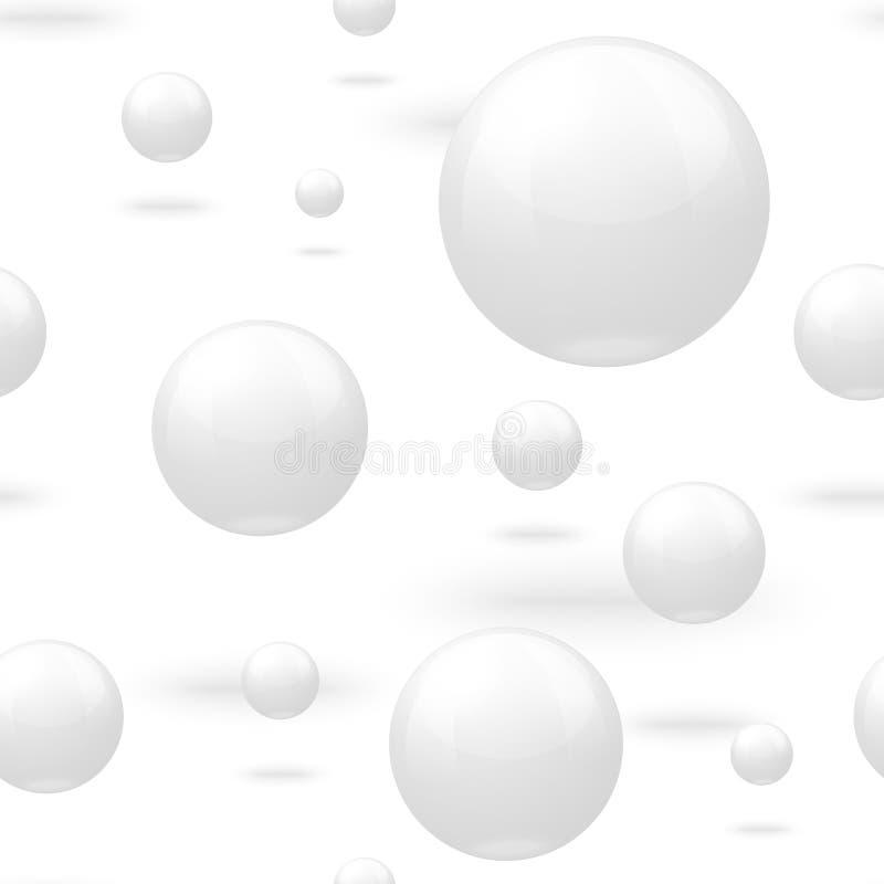 Vector naadloos patroon met witte marmeren ballen stock illustratie