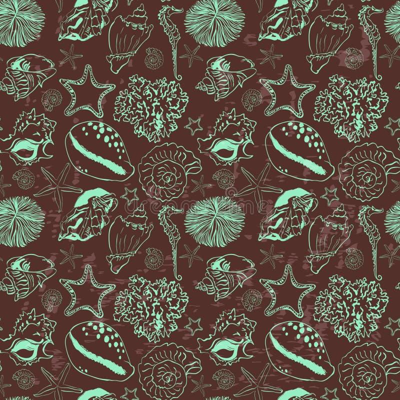 Vector naadloos patroon met zeeschelpen stock illustratie