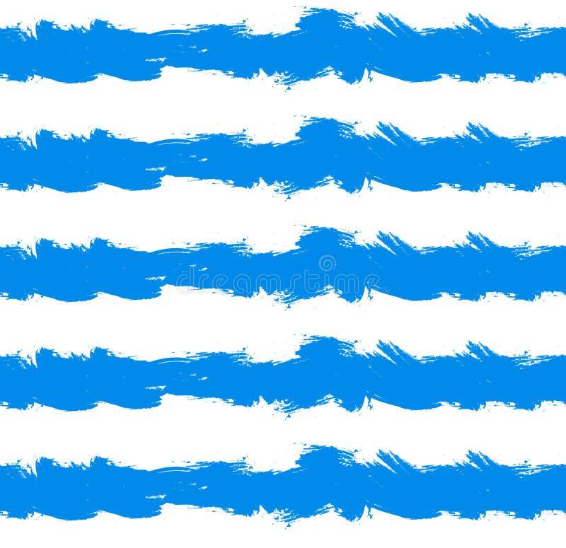 Vector Naadloos Patroon, Overzees, Heldere Blauwe Kwaststreken, Hand Getrokken Illustratie vector illustratie