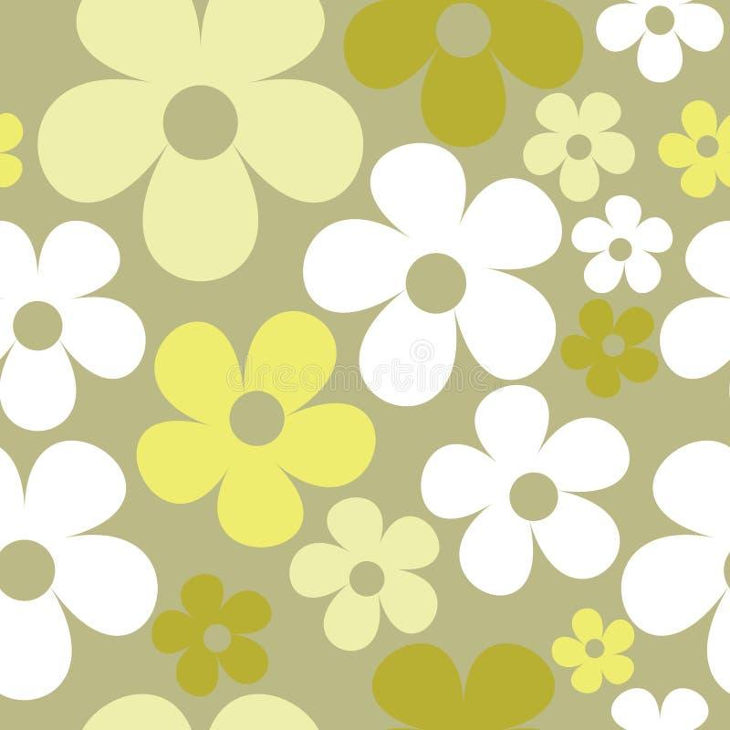 Vector Naadloos Patroon Pale Green Hippie Floral stock illustratie