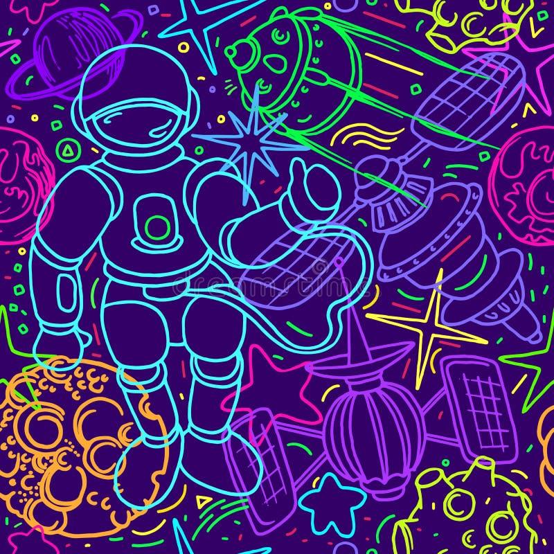 Vector naadloos patroon Ruimtekrabbelillustratie Het behang van de fantasie vector illustratie