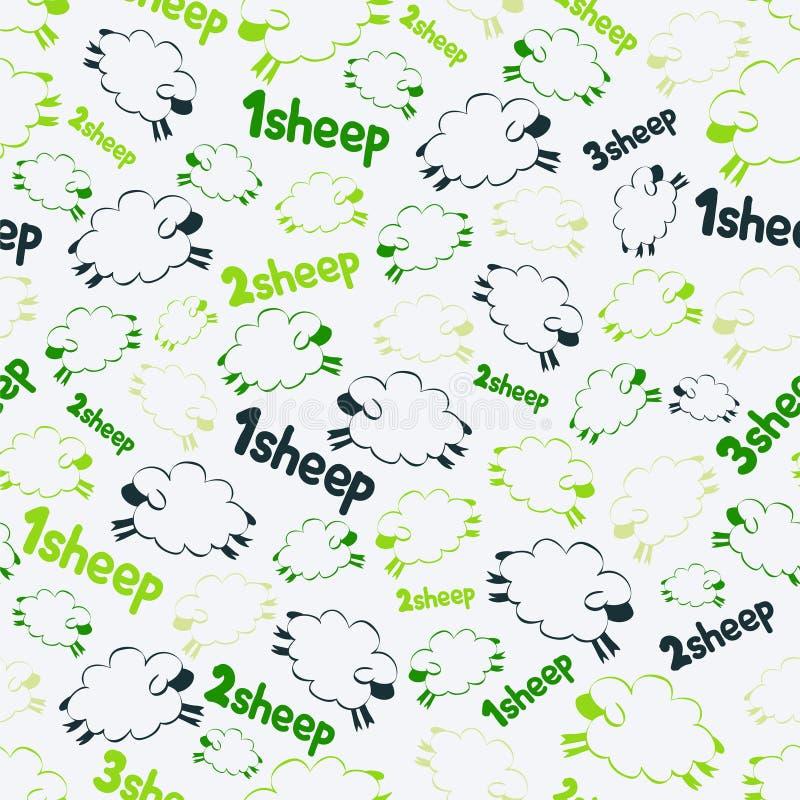 Vector naadloos patroon - sheeps op de groene achtergrond stock fotografie