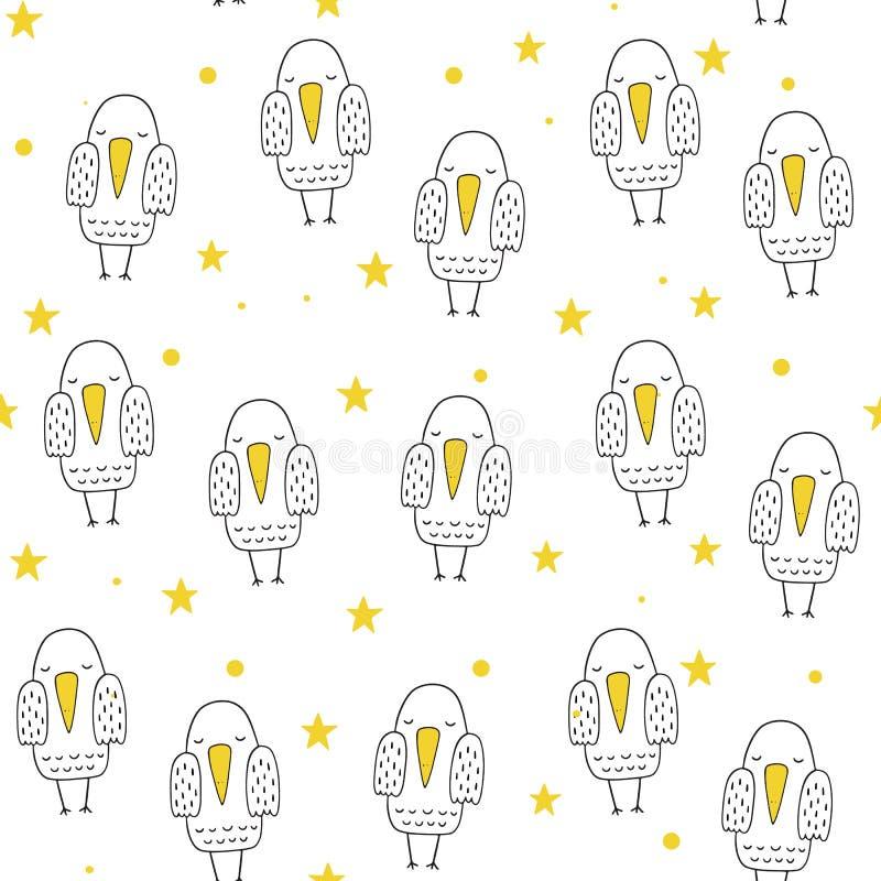 Vector naadloos patroon in Skandinavische stijl Zoete vogel Beeldverhaaldruk royalty-vrije illustratie