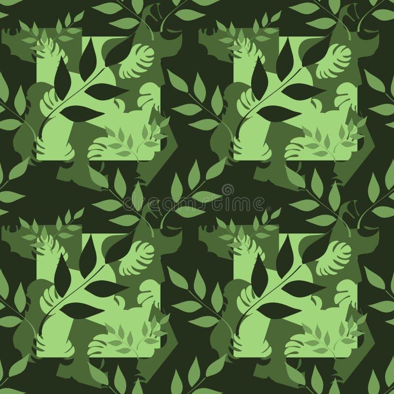Vector naadloos patroon, takken met bladeren, tropische bladeren op donkere achtergrond Abstracte vlekken Hand getrokken illustra stock illustratie