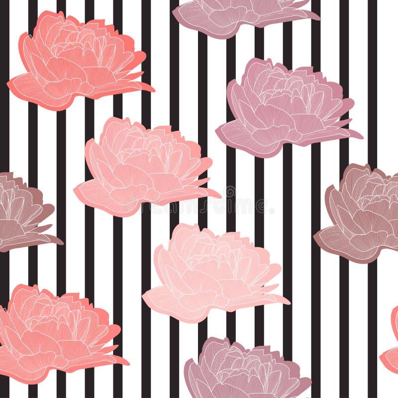 Vector naadloos patroon, textuur, druk met bloemen en strepen In elementen Bloemen ornamenten Pionen vector illustratie