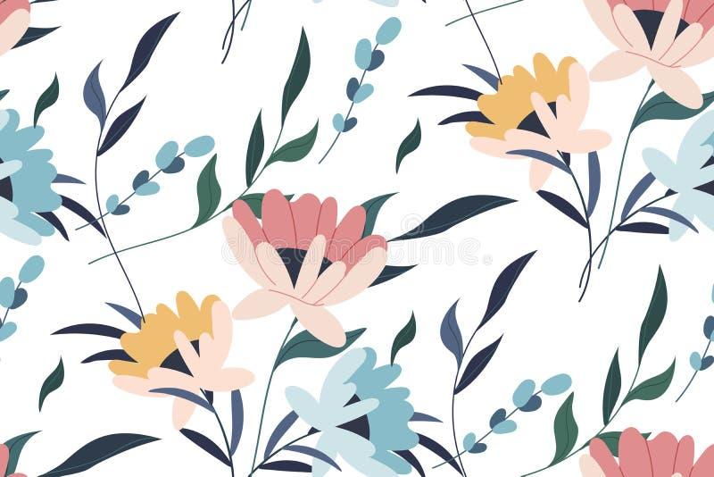 Vector naadloos patroon Tropisch naadloos bladerenpatroon Hand getrokken creatieve bloemen Kleurrijke artistieke achtergrond met  stock foto